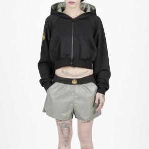 Sudadera corta shortweater con capucha Pussypower ocre